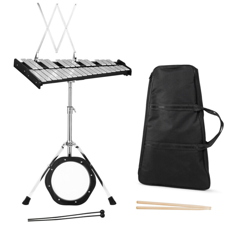 Sonart 30 Notes Percussion Glockenspiel Bell Kit w/ Practice Pad Mallets Sticks
