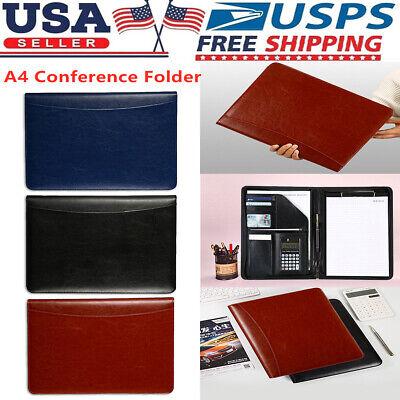 A4 Zipped Document Conference Folder Portfolio Organiser Pu Leather Case Bag Us
