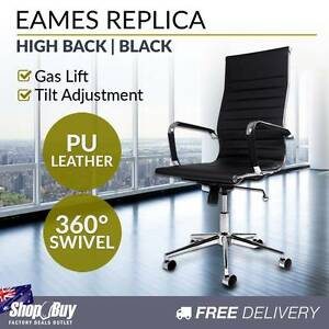 Free Delivery: PU Leather High Back   Computer Office Chair Melbourne CBD Melbourne City Preview