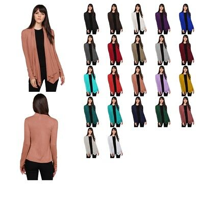 FashionOutfit Women's Solid Jersey Knit Draped Open Front Long Sleeves Cardigan