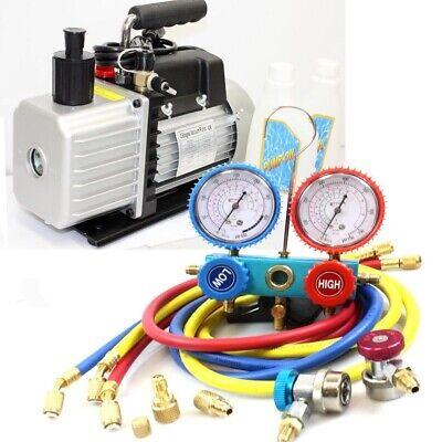 Combo 3.5cfm Two Stage Ac Vacuum Pump  R410a R134a Hvac Ac Manifold Gauges