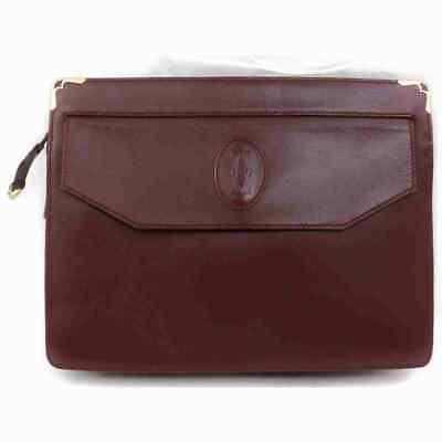 Authentic Cartier Clutch  Bordeaux Leather 1804521