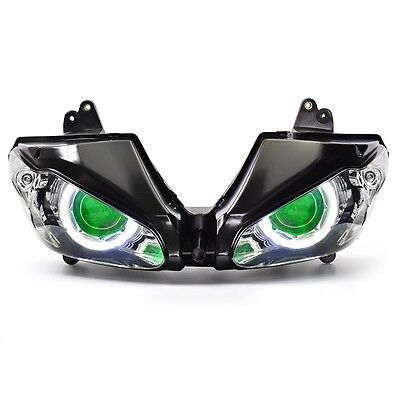 LED Halo Eye HID Headlight Assembly for Triumph Daytona 675 675R 2009-2012 Green