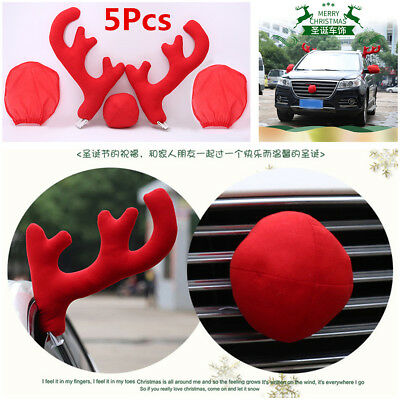 5Pcs Plastic+Plush Antlers+Nose+Mirror Cover Car Costume Christmas Decor Tools ](Halloween Partner Costumes)