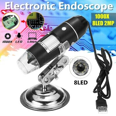 1000x 8led 2mp Usb Digital Microscope Endoscope Zoom Camera Magnifier With Stand