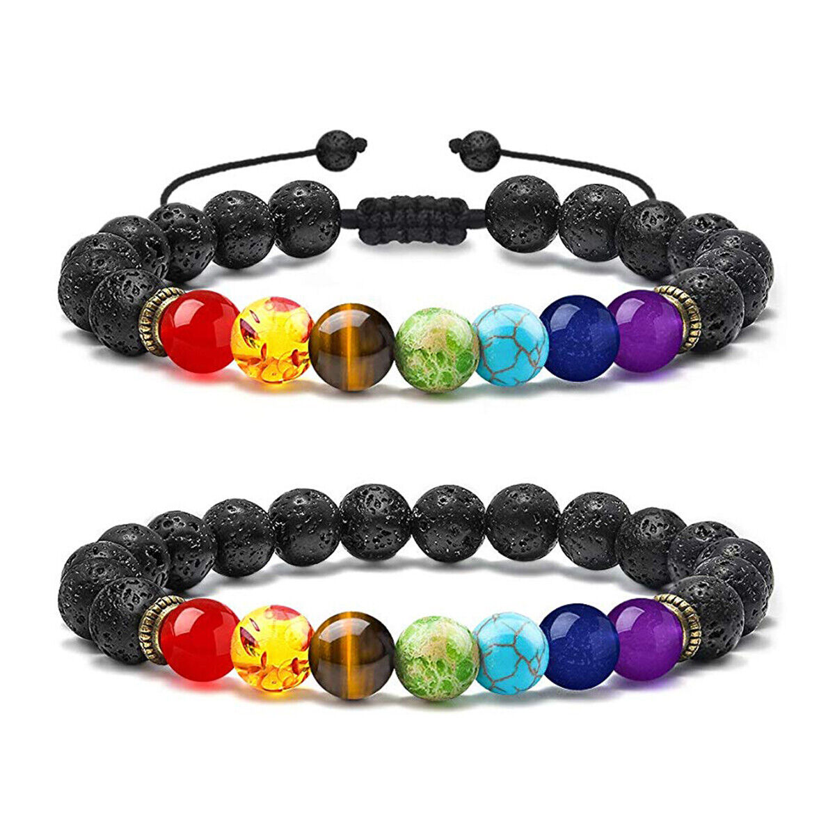7 Chakra Natural Stone Beads Women Men Relief Yoga Beads Aro