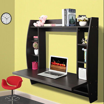 (Home Office Computer Table Floating Wall Mount Desk Storage Shelves Brown)