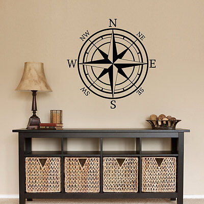 (COMPASS ROSE Nautical Mural Vinyl Wall Art Decal Sticker Decor Lettering Quote )