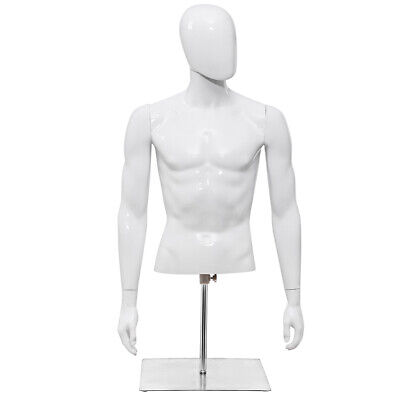 Male Mannequin Human Plastic Half Body Head Turn Dress Form Display Wbase