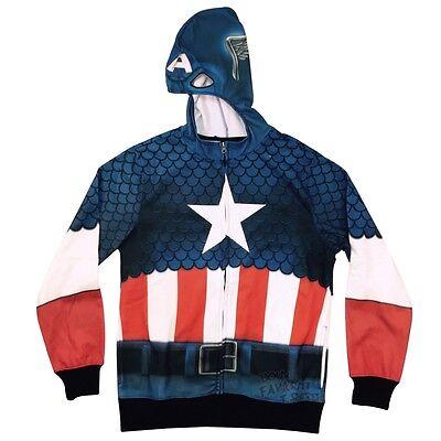 Captain America Kostüm Sublimated Vlies Marvel Comics Erwachsenen - Captain America Kostüm Hoodie