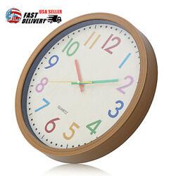 12 inch Silent Non-Ticking Quartz Kid Wall Clock Decorative Indoor 31x31x4.5cm