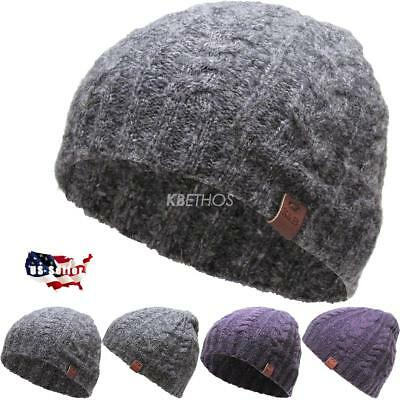 Short Cable Beanie (CLEARANCE SALE!! Short Cable Beanie Winter Ski Skully Striped Heather Colors )