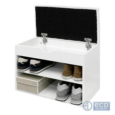 Schuhregal Schuhbank Schuhschrank Sitzbank mit Kissen Flurbank Weiß 60x30x43 cm online kaufen