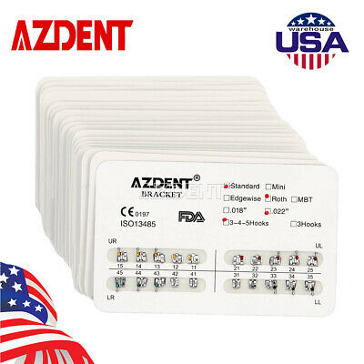 20x Azdent Dental Orthodontic Metal Brackets Standard Roth Slot.022 Hooks 3-4-5
