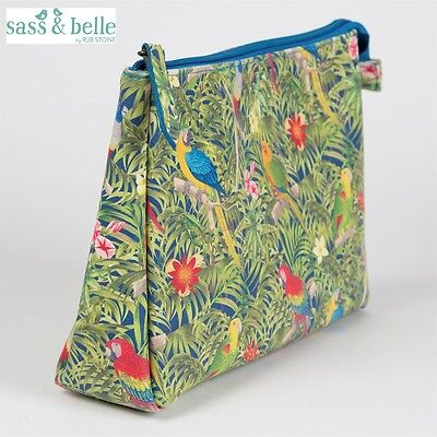 New Parrot Paradise Green Wash Bag Cosmetic Make Up Travel Bag Sass & Belle