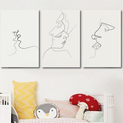 Abstract Kiss Simple Line Curve Canvas Print Painting Wall Art Picture Unframed