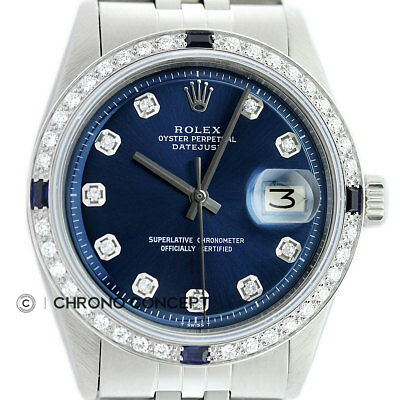Rolex Mens Datejust 18K White Gold & Stainless Steel Blue Diamond Sapphire Watch