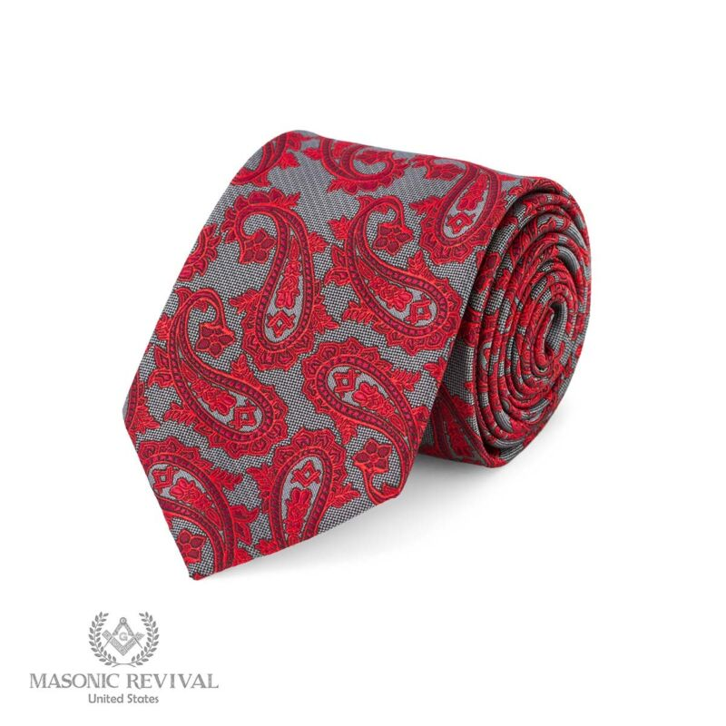 Gris Paisley™ Necktie by Masonic Revival