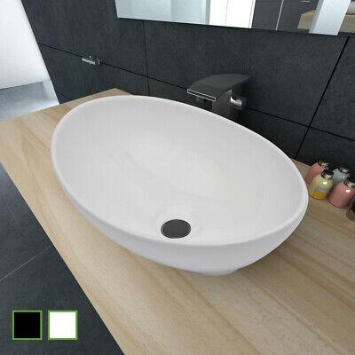 vidaXL Waschbecken Keramik Waschschale Waschplatz Waschtisch Weiß/Schwarz Waschbecken