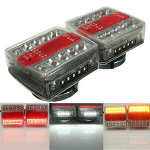 2pcs Magnetic LED Trailer caravan Towing Lightboard Lights Rear Tail Board Lamps