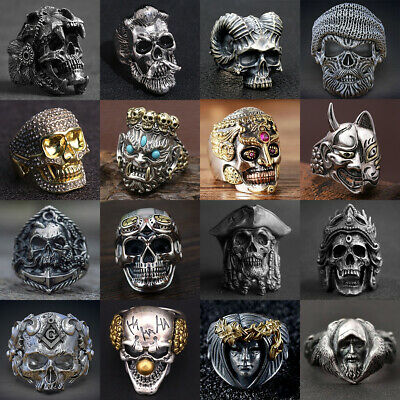New Cool Boys (Cool Mens Stainless Steel Alloy Gothic Skull Rings Head Boy Biker Finger)