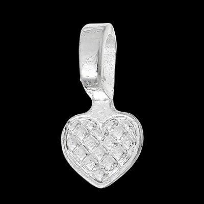 ❤ 20 x Silver Plated HEAVY DUTY HEART Pendant Glue on BAIL 8mm Pad Jewellery ❤