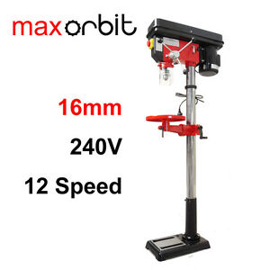 16mm 12 Speed Pedestal Drill Press, 550W 3/4HP 240V, Tilting Bench, Drill Chuck