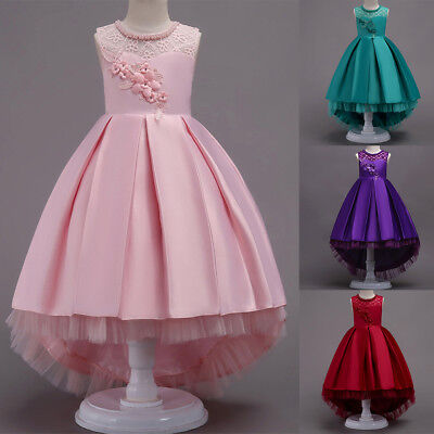 Flower Girl Dress Beaded Long Trailing Gown for Kids Party Wedding Bridesmaid  (Girl For Kids)
