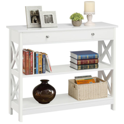 Console Table with Drawer and 2 Open Shelves Narrow Sofa Sid