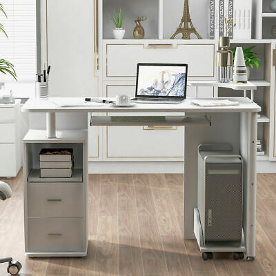White Home Computer Desk Home Office Wood Table W Keyboard Tray And Drawers New