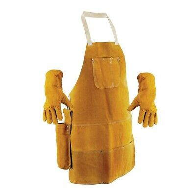 Large Leather Welding Apron Gloves Holster Protective Clothing Set Blacksmith