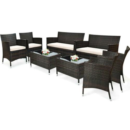 Garden Furniture - 8PCS Patio Rattan Wicker Furniture Set Cushioned Chair Glass Table Top Garden