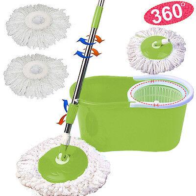 Microfiber Spining Magic Spin Mop W Bucket 2 Heads Rotating 360 Easy Floor Mop