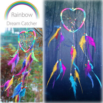 Heart-shaped Dream Catcher with Feathers Car Home Wall Hanging Decor Ornament US