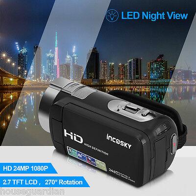 Schwarz FULL HD 24MP 1080P 16X ZOOM 2.7 Digital Kamera Camcorder DV Videokamera