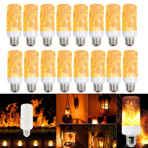 LED Flame Light Bulbs Simulated Burn Fire Effect Xmas Flicke