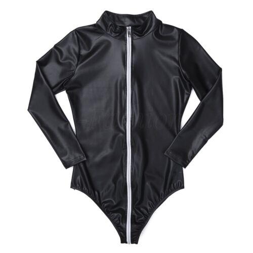 Damen Sheer Body Reißverschluss Langarm Jumpsuit Overalls Leotard Playsuit