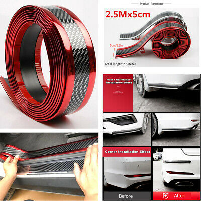 2.5m Car Door Sill Scuff Plate Guard Pedal Protector Strips 5cm Carbon Fiber Red for sale  Shipping to Canada