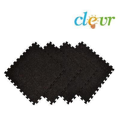 Clevr 96 Sq Ft (24pc) Black Carpet EVA Foam Flooring Interlocking Mat w/ borders