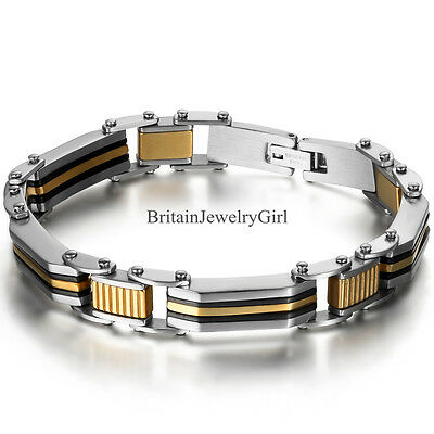 10MM Wide Mens Gold Silver Tone Stainless Steel Cuff Bangle Bracelet Gift