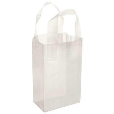 25 Clear Print Frosted Plastic Handle Bags Gift Party Merchandise Retail 5x3x6
