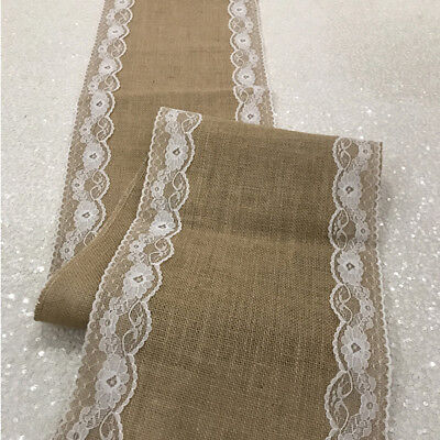 13 X 108 Inch Jute Burlap with Lace Edges Table Runners Rustic 100% Natural](Burlap Table Runner With Lace)