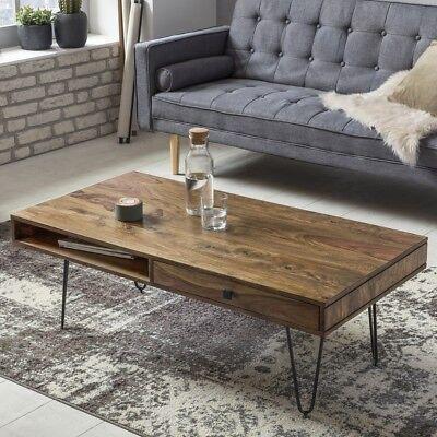 Massiver Couchtisch Holz Massiv Sheesham 120 cm Wohnzimmertisch Schublade Tisch online kaufen
