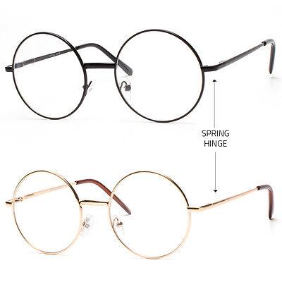 JOHN LENNON costume Round Retro Metal Frame Clear Lens Eye Glasses Spring Hinge