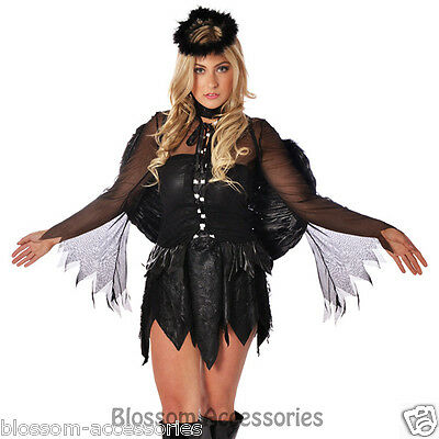 E89 Ladies Black Fallen Dark Angel Halloween Fancy Dress Costume + Halo + Wings - Fallen Dark Angel Costume