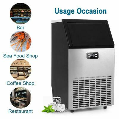 Smad Commercial Ice Machine 100lbs24h Sainless Steel Ice Storage Ice Maker