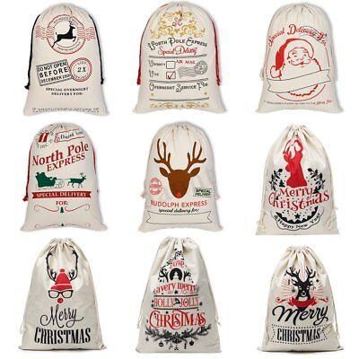 Large Canvas Merry Christmas Santa Sack Reindeer Xmas Stocking Storage US - Large Christmas Stocking