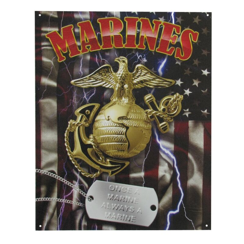 Military USMC US Marines Corp Tin Metal Sign w/ Dog Tag - Once a Marine Always a