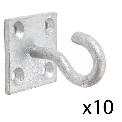 Pack Of 10 GALVANISED 50mm Strong Thick Hook On Plate Tether/Tie Up Secure Rope