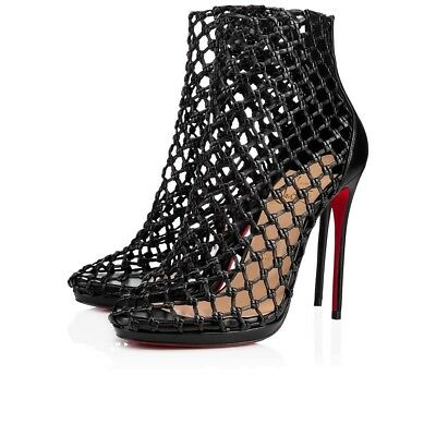 NB Christian Louboutin Porligat 120 Black Nappa Caged Boot Bootie Heel Pump 36.5